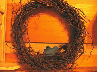 "<!-- AddThis Share Buttons above via filter on get_the_excerpt --> <div class=""at-above-post-arch-page"" data-url=""http://www.not2crafty.com/2008/05/bird-nest-wreath-with-canvas-bird/"" data-title=""Bird nest wreath with canvas bird.""></div>  This wreath is very simple to make using a birdnest and some artificial eggs.  The bird is made from canvas fabric and hot glue.  At holidays I take out the eggs and [...]<!-- AddThis Share Buttons below via filter on get_the_excerpt --> <div class=""at-below-post-arch-page"" data-url=""http://www.not2crafty.com/2008/05/bird-nest-wreath-with-canvas-bird/"" data-title=""Bird nest wreath with canvas bird.""></div><!-- AddThis Share Buttons generic via filter on get_the_excerpt --> <!-- AddThis Related Posts generic via filter on get_the_excerpt -->"
