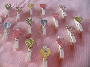 Mini Clothespins With Decorative Hearts