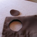 cut out hole as shown 150x150 Easy to make curtains with big snap in rings for hanging.