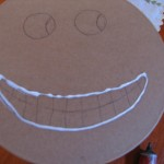 draw a line of glue around mouth