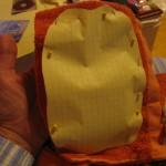 pin pattern piece to terrycloth towel