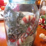 add more christmas stuff1 150x150 Mason jars filled with Christmas picks,snow, and lights for holiday cheer!