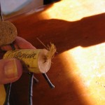glue on tail 150x150 Wine cork reindeer is a fun project for kids