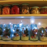 add some artificial snow and christmas picks to mason jars