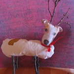 Turn your dog into a reindeer using fabric paper.