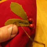 stitch along middle of each leaf as shown