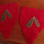 place the leaves on the velvet garland pieces as shown