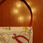 Stick ribbon in and stitch top closed