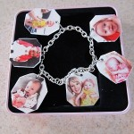 charm bracelet made with shrinky dink paper made for the printer