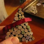 glue ribbon across top as shown1 150x150 Christmas tree ornaments made with wood pieces