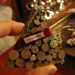 print names on fabric paper or scrapbook paper and glue onto the ribbon1 150x150 Christmas tree ornaments made with wood pieces