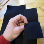 fold a piece of felt in half and cut. fold again and cut making 4 pieces1 150x150 Easy to make trick or treat bag for Halloween