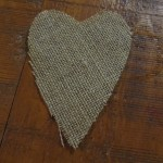 cut out burlap hearts