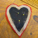 pin heart to felt