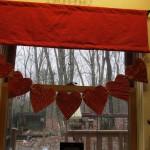 heart garland hanging on window